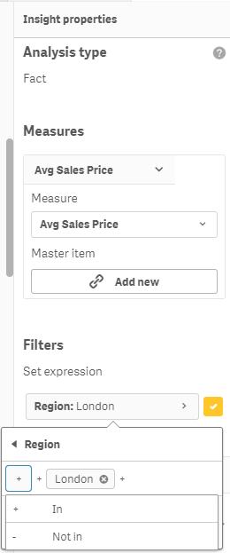 Modify filters in the Qlik Insights advisor