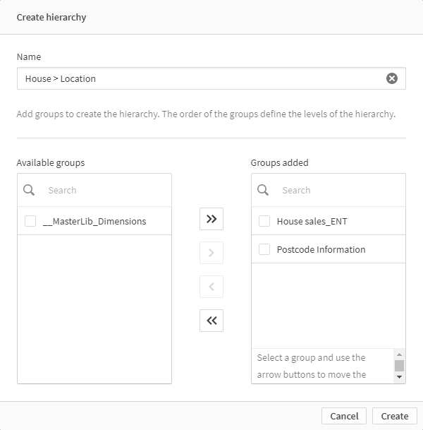 insight advisor chat create hierarchy
